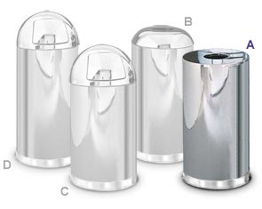 Mirror Chrome Steel Trash Receptacle Collection