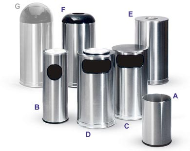 Satin Stainless Steel Trash Receptacles