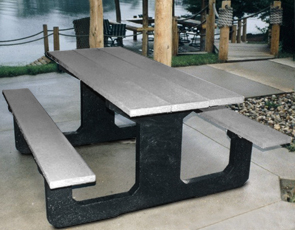 Model P-26 | 6' Picnic Table Bench (Gray/Black)