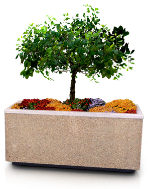 Model P-30X96 | P Series Concrete Planters (Light Brown | Etch Finish)