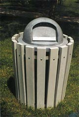 732 Gallon Open Top Waste Receptacle Housing Gray | Gray Dome Top Lid