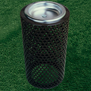 Model P11AU | Thermoplastic Coated Perforated Steel Outside Ashtray (Black)