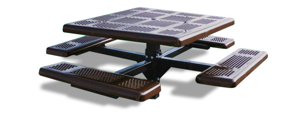 Model P46-I | Square Outdoor Table | Perforated Metal Style (Brown/Black)