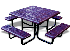 Model P46-P | Thermoplastic Coated Perforated Steel Square Tables (Purple/Black)