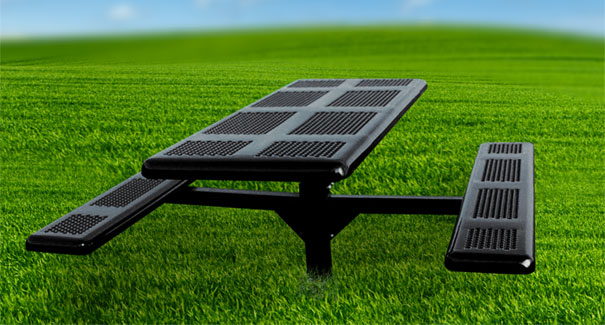 Model P6-I | Rectangular Outdoor Tables | Perforated Metal Style (Black)