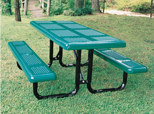 Model P6 P Rectangular Picnic Tables Perforated Metal Style Green Black