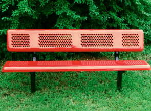 Model P6WB-I | Perforated Thermoplastic Coated Outdoor Benches (Red/Black)