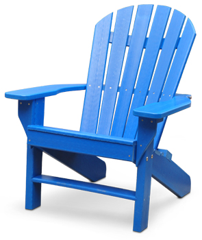 Model PB-ADSEA | Seaside Commercial Grade Recycled Plastic Adirondack Chair (Blue)