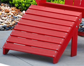 Model PB-ADTRAOT | Commercial Grade Recycled Plastic Adirondack Ottoman (Red)