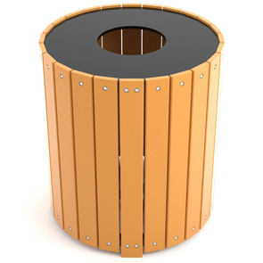 Mode PB32R | Large Capacity Round Trash Receptacle (Cedar)
