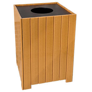 Model PB32S | Large Capacity Square Trash Receptacle (Cedar)