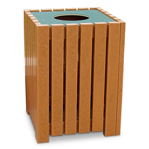 Model PB32S-HD | Heavy-Duty Square Trash Receptacle (Cedar)