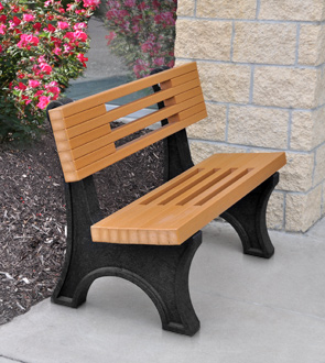 Model PB4-ARIELLE | Ariel Recycled Plastic Bench (Cedar/Black)