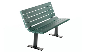 Model PB4-CON | 4' Recycled Plastic Contoured Bench (Green)