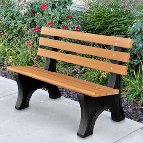 Model PB4-CPAE | 6 Foot Comfort Park Avenue Recycled Plastic Bench (Cedar/Black)