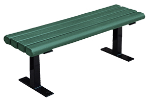 Model PB4-CRK | Recycled Plastic Backless Bench (Cedar/Black)