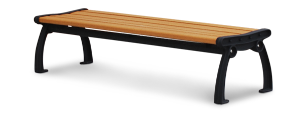 Model PB4-HERBACK | Recycled Plastic Backless Entryway Bench (Cedar/Black)