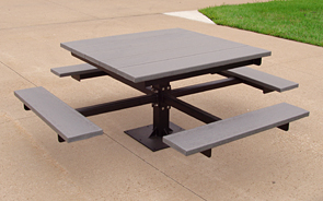 Model PB4-SPIC | Recycled Plastic Picnic Table (Gray)