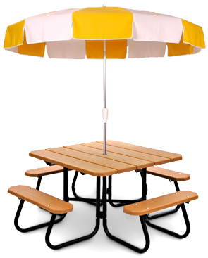 Model PB4-SQPIC | Recycled Plastic Resinwood Table with Model UMB75 | 7-1/2' Umbrella