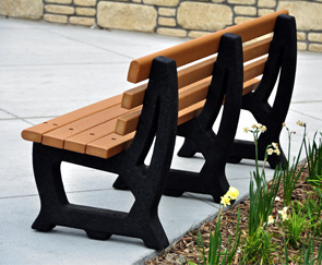 Model PB6-BROOK | 6' Brooklyn Recycled Plastic Outdoor Bench Back View (Cedar/Black)