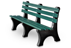 Model PB6-CPA | Central Park Recycled Plastic Bench (Green/Black)
