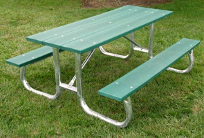 Model PB6-GFPIC | Recycled Plastic Tables with Galvanized Frame (Green)
