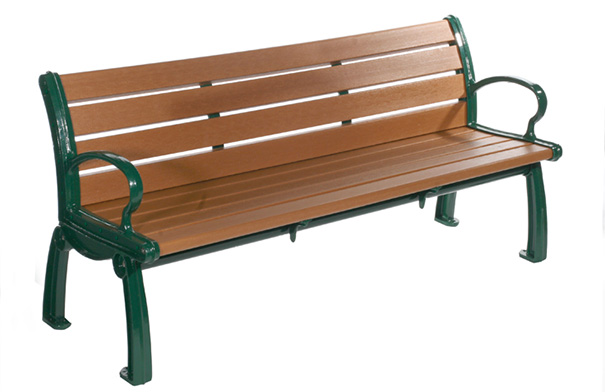 Model PB6-HER | Heritage Bench (Cedar Resinwood/Black Frame)