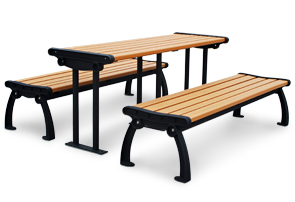 Model PB6-HERPIC | Recycled Plastic Picnic Bench Table (Cedar/Black)