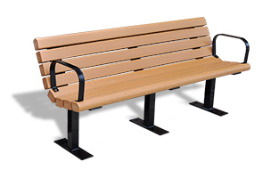 Model PB6-JAM with PB1178 | Recycled Plastic Jameson Bench (Cedar)