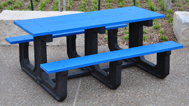 Model PB6-PARKP | Park Place Heavy-Duty Walk Thru Picnic Table (Blue)