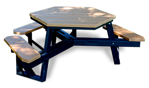 Model PB6HEX-ADA | Universal Access Recycled Plastic Hexagon Picnic Table (Cedar/Black)