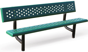 Modl PBG-6PS | Perforated Steel Park Benches | Traditional Style (Teal/Black)
