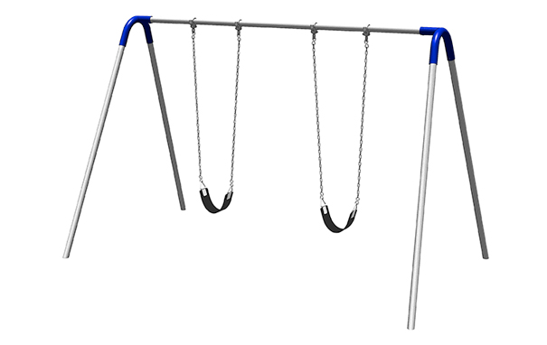 Model PBP-8-1S-BLU | Single Bay Swing with Strap Seats Playground Component