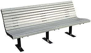 Model PBSC-8-G | 8' Palisade Recycled Plastic Bench | Gray