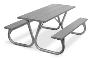 Model PC-6PGY | Park Chief 6ft. Recycled Plastic Picnic Table (Gray)
