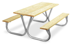 Model PC-6WA | Park Chief 6ft. MCA Pressure Treated Picnic Table with Galvanized Frame