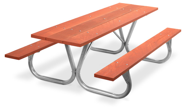 Model PC-8WR | Park Chief 8ft. Redwood Stained Picnic Table with Galvanized Frame