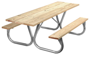 Model PC-HWA | Universal Access Park Chief MCA Treated Pine Picnic Table with Galvanized Frame