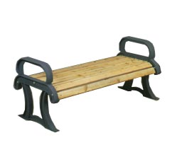 Model PC4CBS | Backless Wood Bench | Wood Collection with Cast Frames (Cedar/Black)