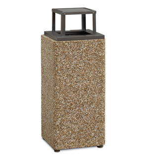 Model PCS16RB | Aggregate Trash Receptacle (Painted Bronze Lid/River Rock Aggregate)