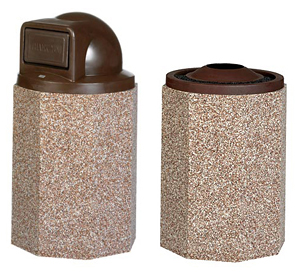 Model PCS55PDT | Octagonal Aggregate Trash Receptacle (Brown Lid/River Rock Aggregate), Model PCS55PAT | Octagonal Aggregate Trash Receptacle (Brown Lid/Rick Rock Aggregate)