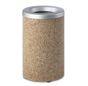 Model PCSCYL21 | Round Aggregate Trash Receptacle (River Rock Aggregate)