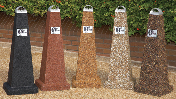 Model PCSPYA | Aggregate Smokers Outdoor Ashtrays (Black Lustre Aggregate, Alpine Red Aggregate, Golden Glo Aggregate, River Rock Aggregate, Coffee Bean Aggregate)