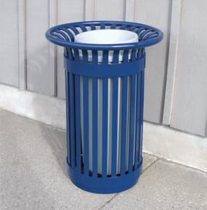 Model PFT-20 | Steel Trash Receptacle | Premier Flare Top Style (Blue)