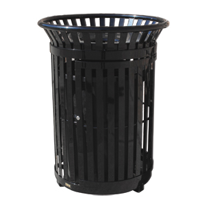 Model PFT34-D | Steel Trash Receptacle | Premier Flare Top Style (Black)