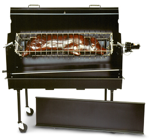 Model ROTO-BQ-R Rotisserie Shown On Top of a Model PG-2460-M Charcoal Grill with Model PG-200 Bread-Box Hood On Top