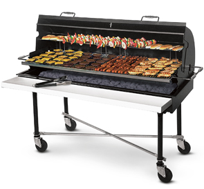 Model PG-2460-M Shown with optional hood, warming rack, full length shelf, and X-braces