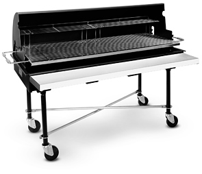Model PG-2460-M Shown with optional warming rack, full length shelf, X-braces and New PORTA-Shield