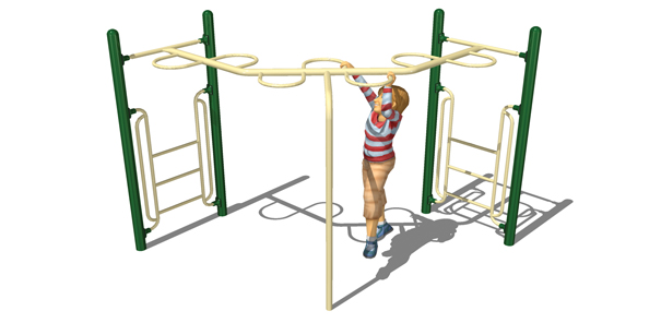 Model PGC-LLRH-90 | 90° Loop Rung Horizontal Ladder Playground Component