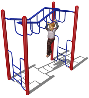 Model PGC-LWDRH | Wavy Deep Rung Horizontal Ladder Playground Component